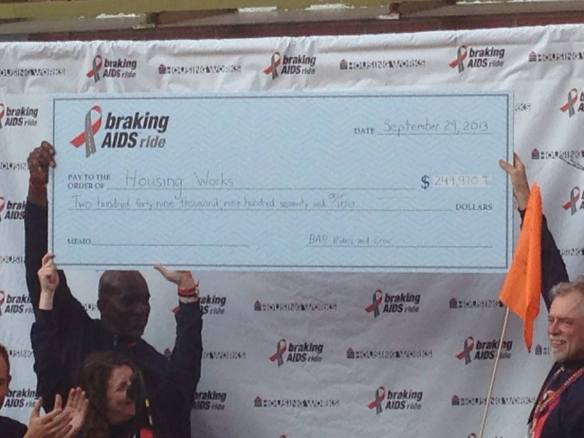 As of September 30, 2013, Braking AIDS Ride netted $250,000 for Housing Works. Donations can continue to come in for the 2013 ride through the end of October: http://bit.ly/ZGvJZl.