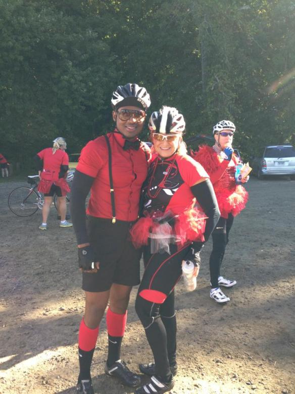 Riders Henry Bolden and Brigid Siegel, hotties dressed for success, Red Dress Day, Braking AIDS Ride, September 2013.